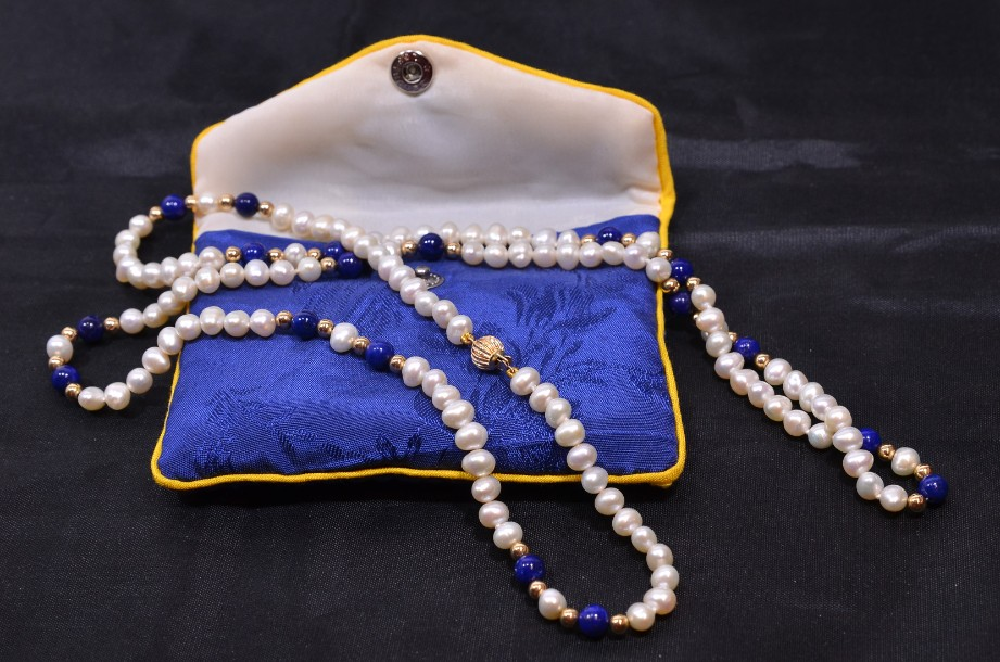 Lapis Lazuli and Freshwater Pearl necklace in pouch 1