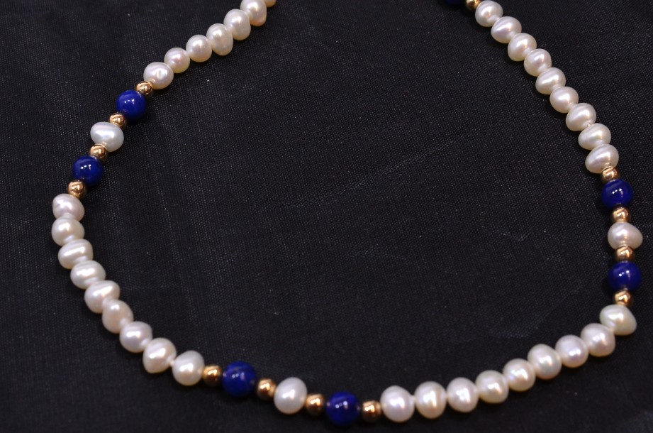 Lapis Lazuli and Freshwater Pearl necklace in pouch 3
