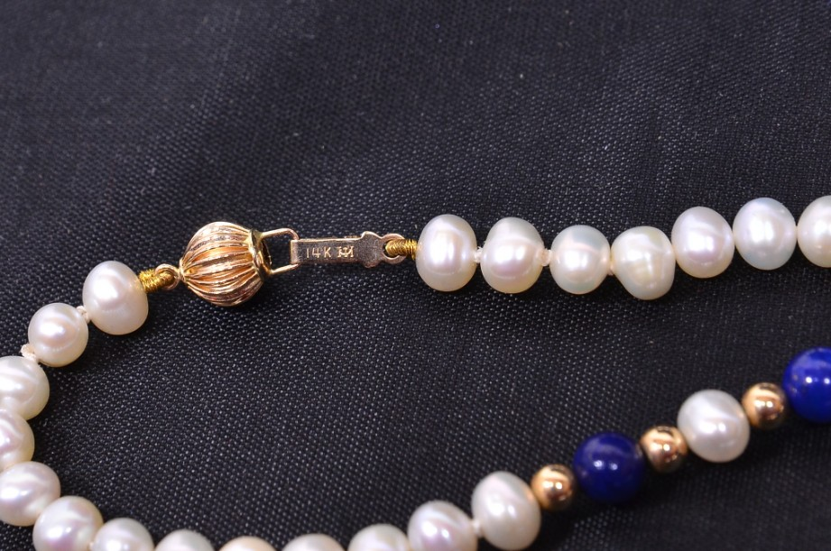 Lapis Lazuli and Freshwater Pearl necklace in pouch 4
