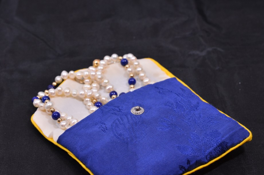 Lapis Lazuli and Freshwater Pearl necklace in pouch 7