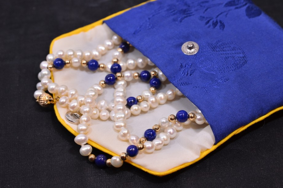 Lapis Lazuli and Freshwater Pearl necklace in pouch 8