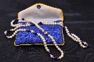Lapis Lazuli and Freshwater Pearl necklace in pouch Thumbnail 1
