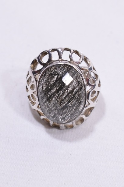 Hallmarked Sterling Silver Rutilated Quartz ring  Size Large 2