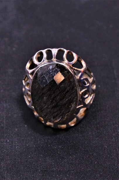 Hallmarked Sterling Silver Rutilated Quartz ring  Size Large 3