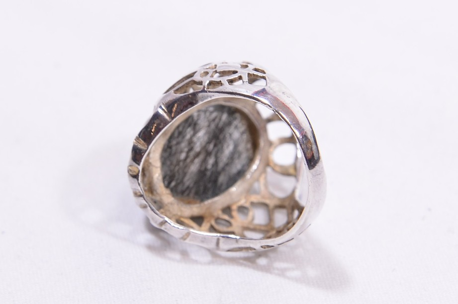 Hallmarked Sterling Silver Rutilated Quartz ring  Size Large 5
