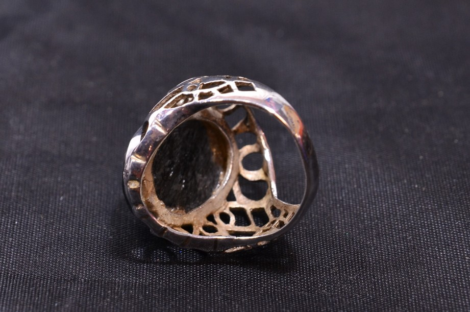 Hallmarked Sterling Silver Rutilated Quartz ring  Size Large 7