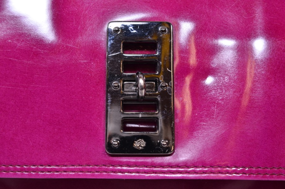 Mulberry East - West 'Maggie' Fuchia/Raspberry Pink Patent Leather Bag