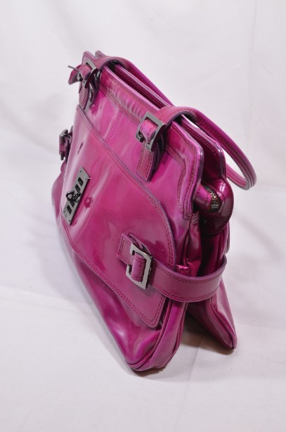 Mulberry East - West 'Maggie' Fuchia/Raspberry Pink Patent Leather Bag 10