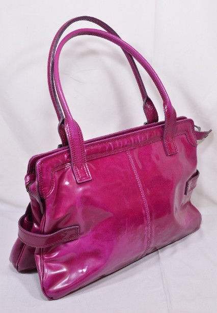 Mulberry East - West 'Maggie' Fuchia/Raspberry Pink Patent Leather Bag 11