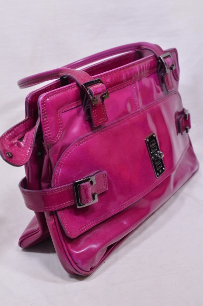 Mulberry East - West 'Maggie' Fuchia/Raspberry Pink Patent Leather Bag 5
