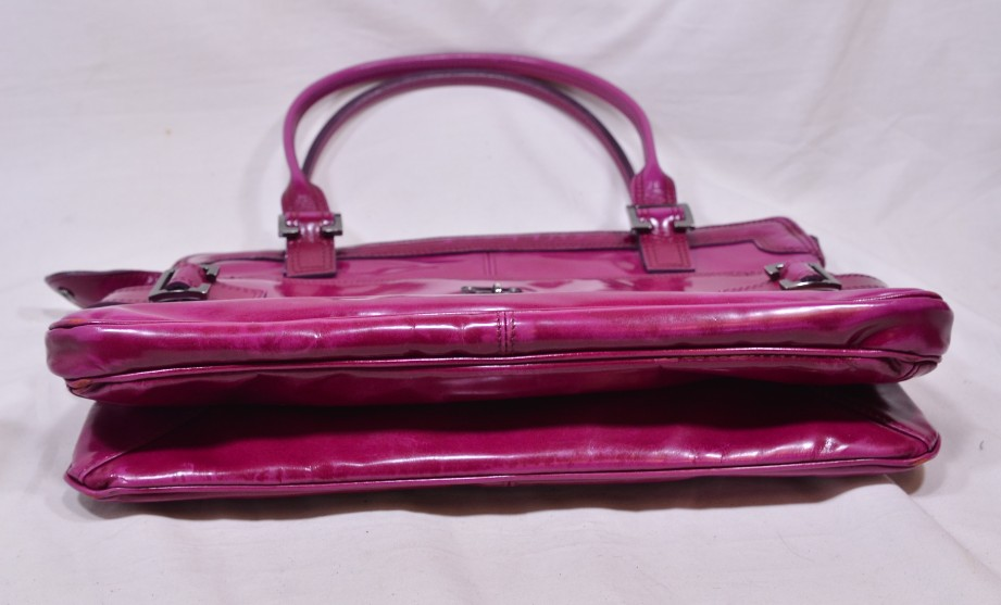 Mulberry East - West 'Maggie' Fuchia/Raspberry Pink Patent Leather Bag 6