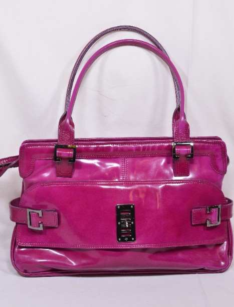 Mulberry East - West 'Maggie' Fuchia/Raspberry Pink Patent Leather Bag 7