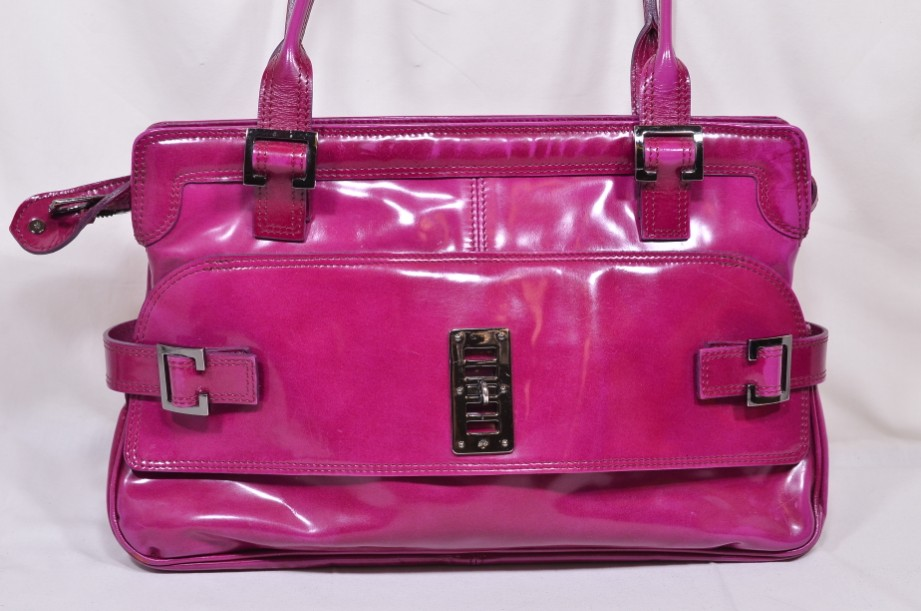 Mulberry East - West 'Maggie' Fuchia/Raspberry Pink Patent Leather Bag 8