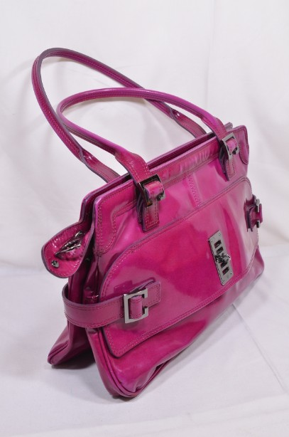 Mulberry East - West 'Maggie' Fuchia/Raspberry Pink Patent Leather Bag 9