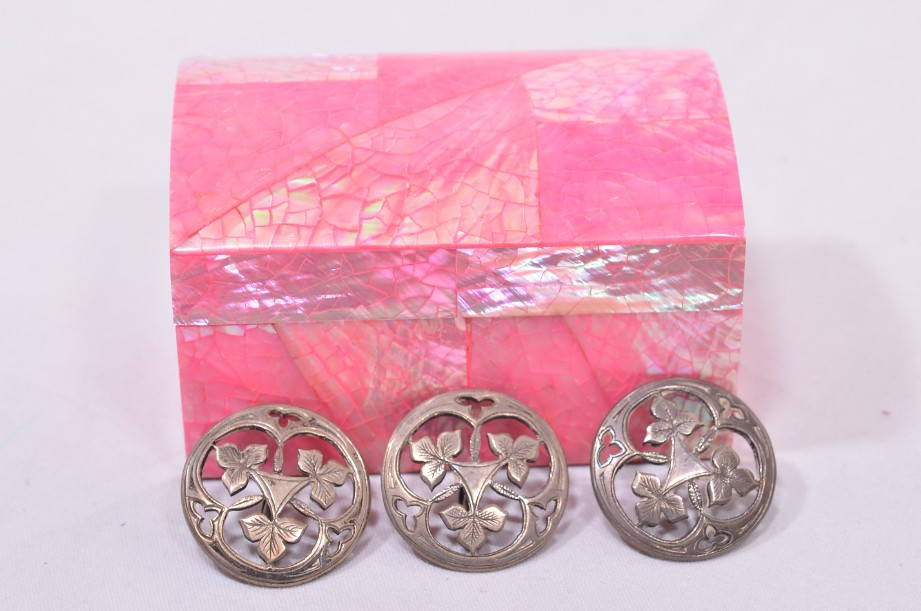 Three Silver Decorative Shank Buttons in a Padded Box - Leaf Design