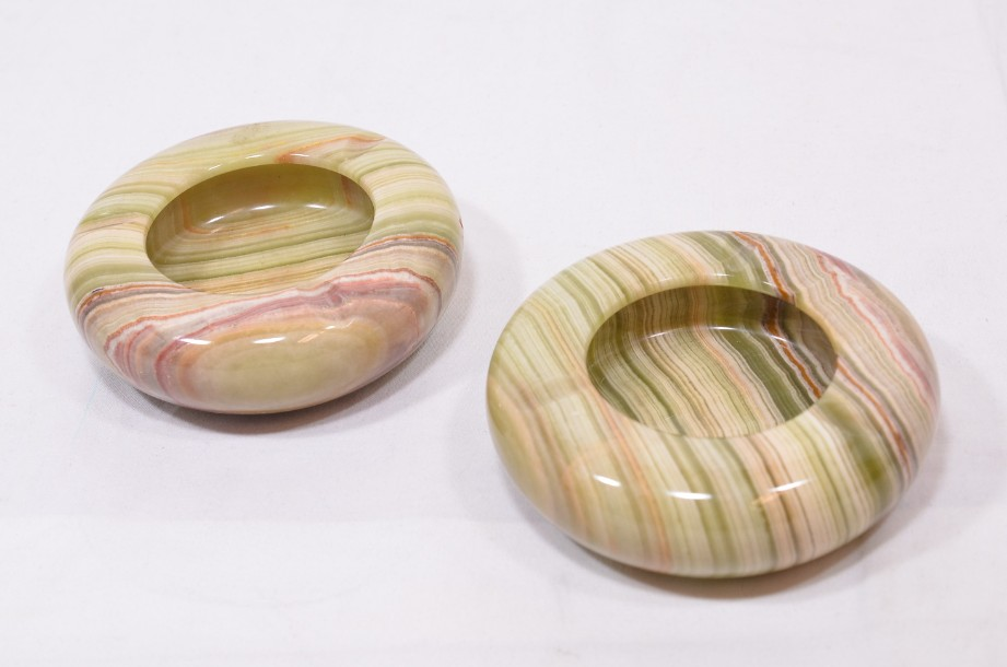 Pair of Green Agate / Onyx Carved Stone Ashtrays