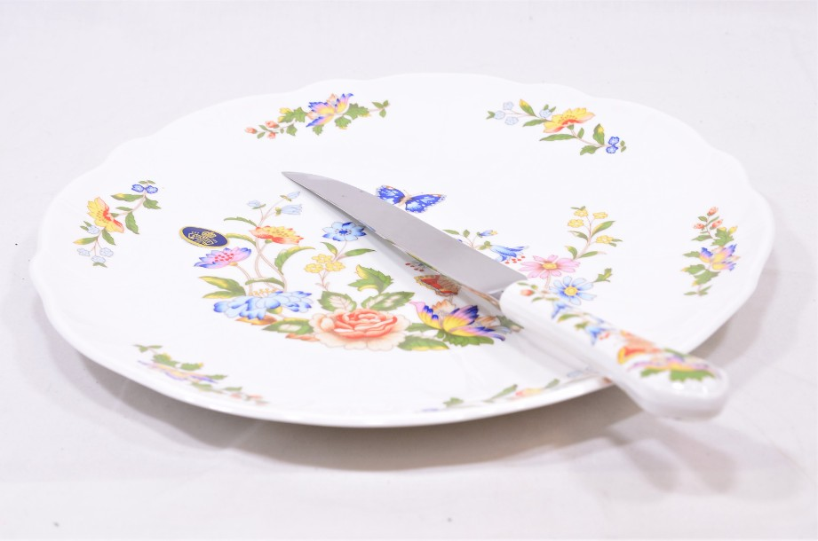 Aynsley Cottage Garden Bone China Cake Plate & Serving Knife Set