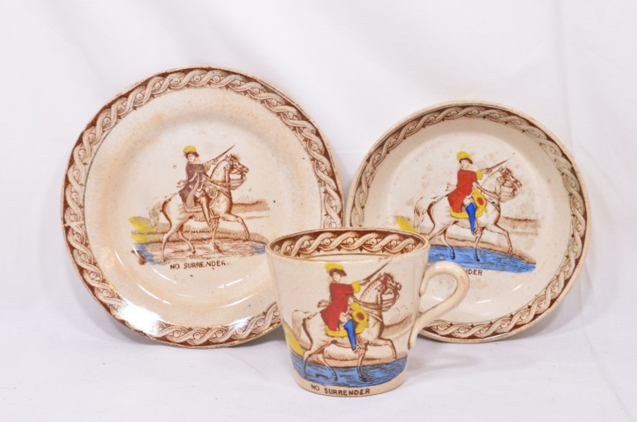 William III of Orange political 'No Surrender' cup, saucer and plate trio
