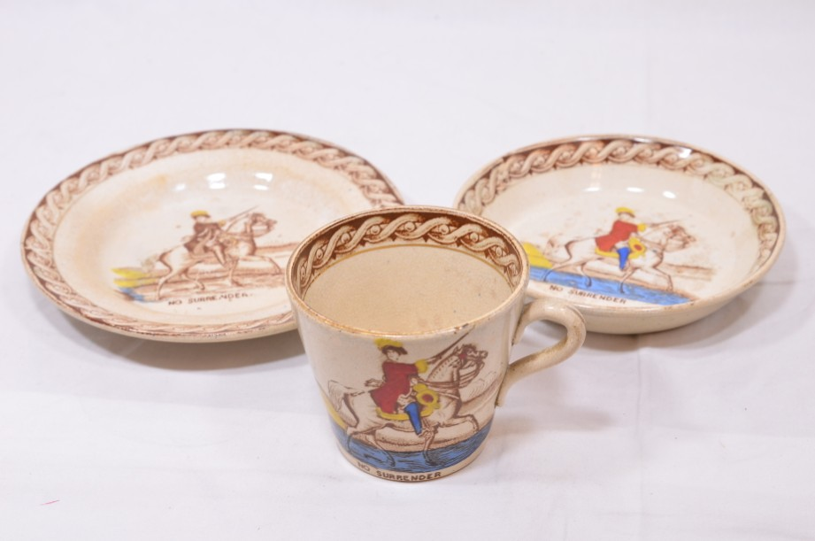 William III of Orange political 'No Surrender' cup, saucer and plate trio 2