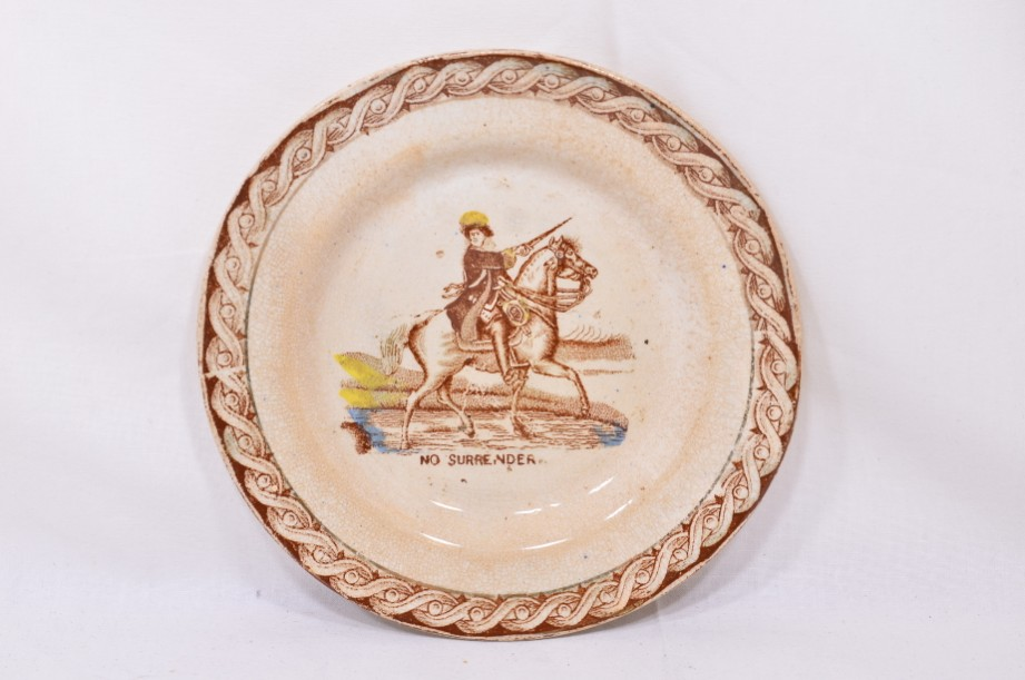 William III of Orange political 'No Surrender' cup, saucer and plate trio 5