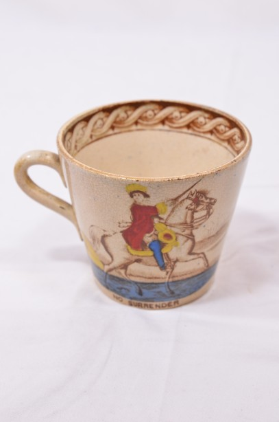 William III of Orange political 'No Surrender' cup, saucer and plate trio 6