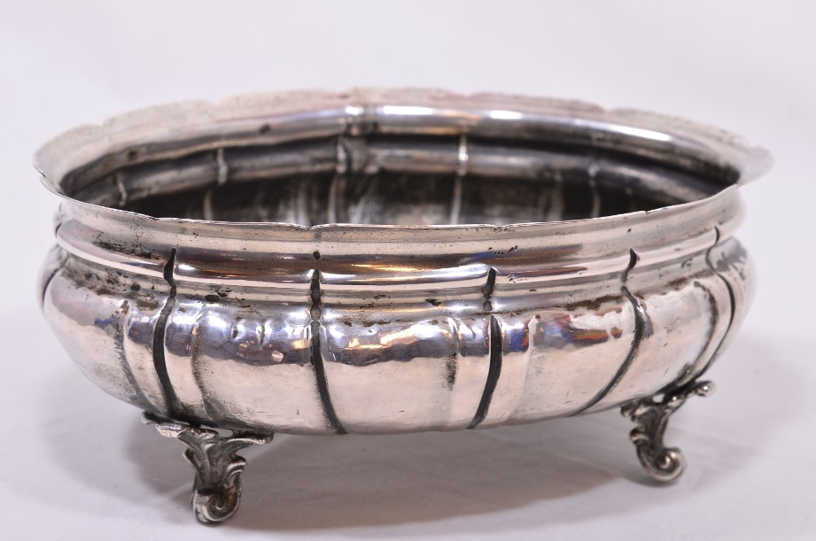 Unique Solid Silver Ornate Footed Oval Bonbon Dish with Scalloped Edge