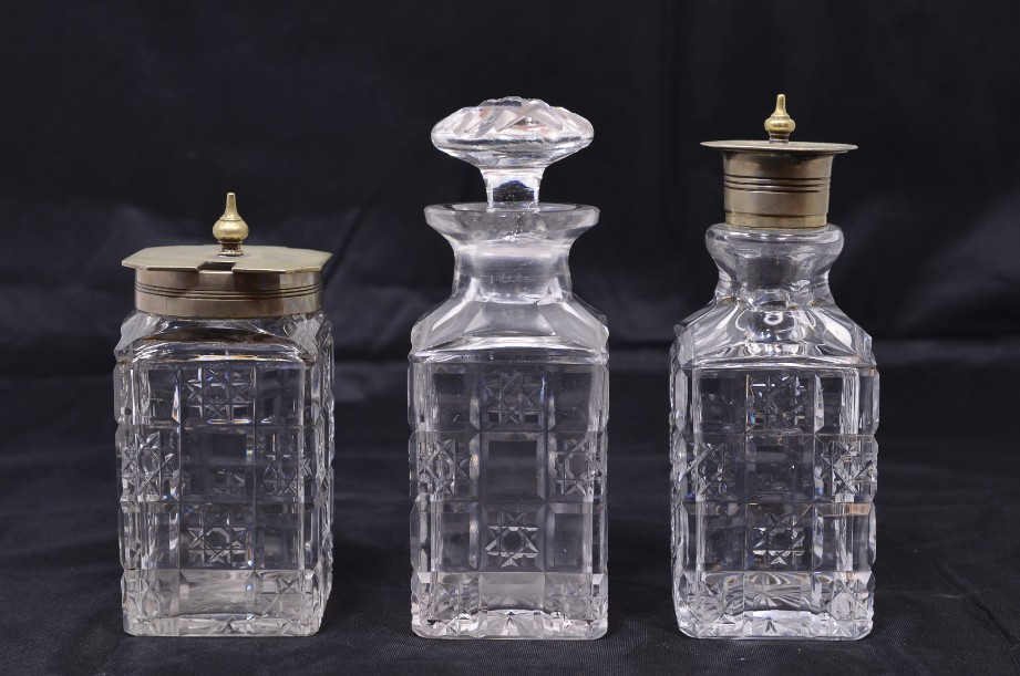Three Small Cut Glass Condiment Bottles with Glass/Silver Tops Circa 1900