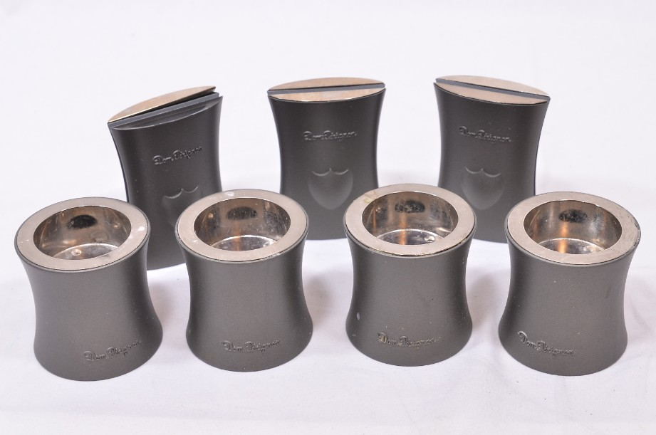 Moet and Chandon Dom Perignon Tealight and Menu Holders Pewter Coloured