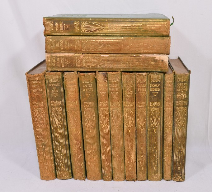Collection of 14 Charles Dickens Leather Bound Books 1905