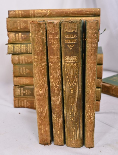 Collection of 14 Charles Dickens Leather Bound Books 1905 10