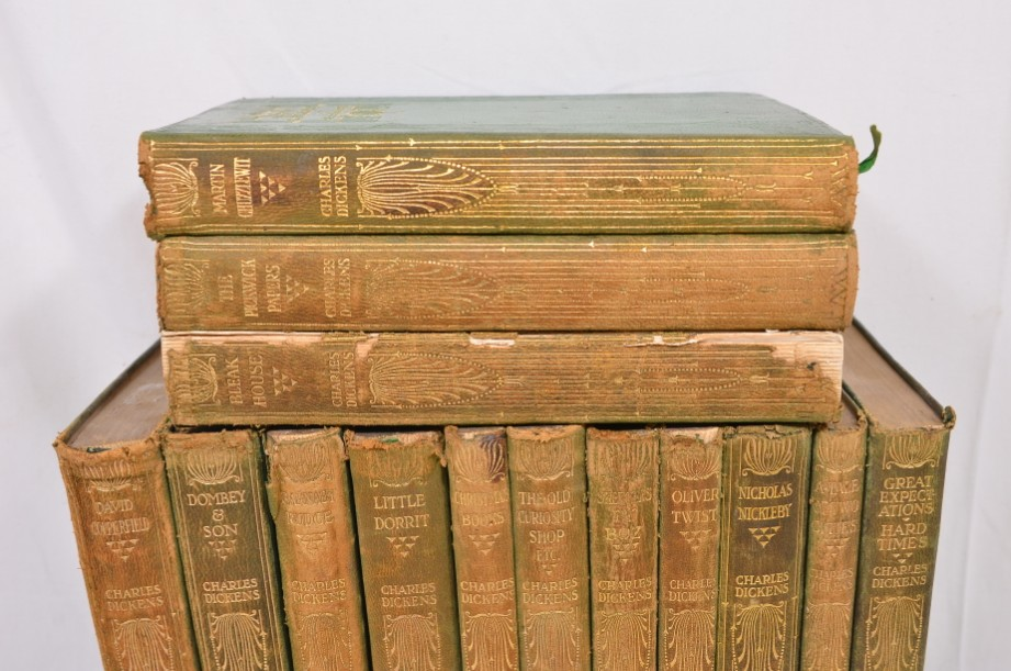 Collection of 14 Charles Dickens Leather Bound Books 1905 2