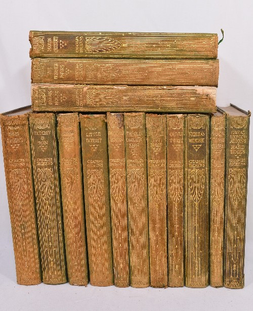 Collection of 14 Charles Dickens Leather Bound Books 1905 3