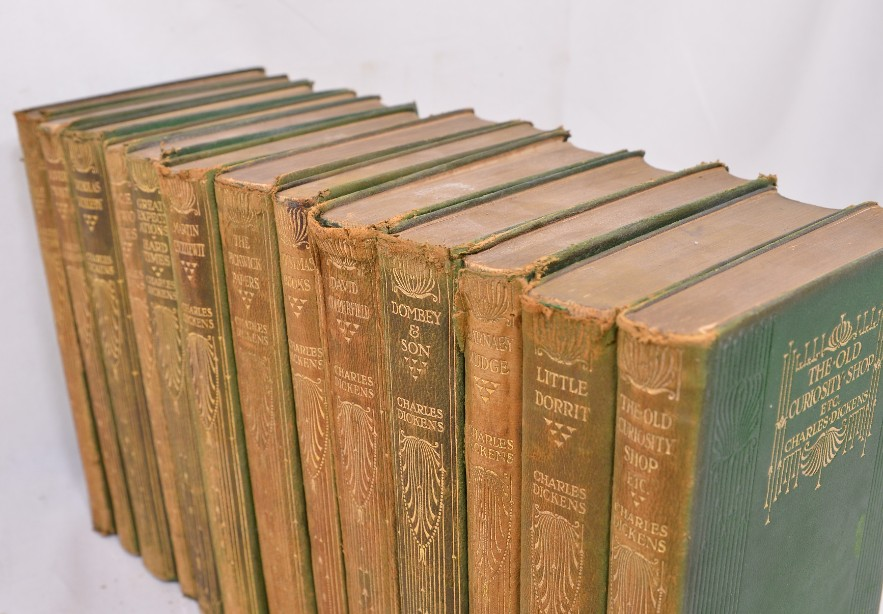 Collection of 14 Charles Dickens Leather Bound Books 1905 6