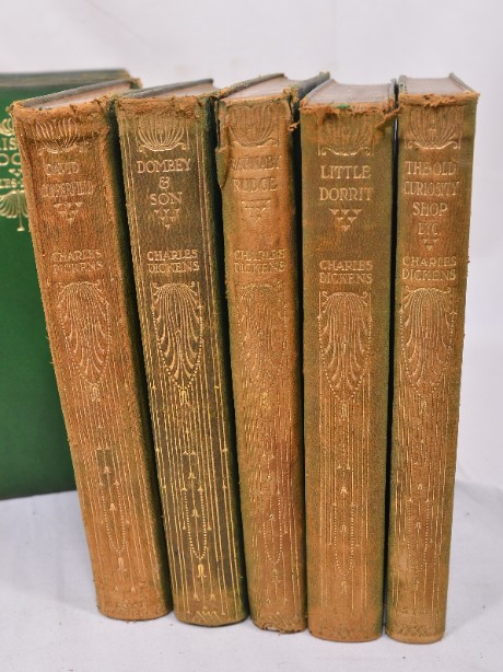 Collection of 14 Charles Dickens Leather Bound Books 1905 8