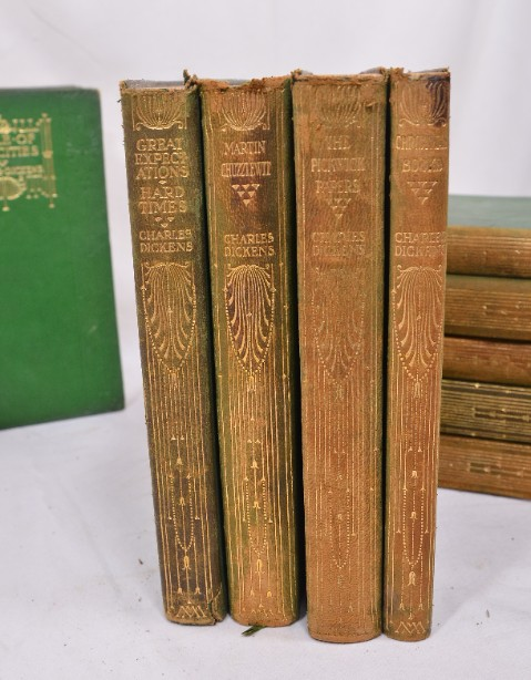 Collection of 14 Charles Dickens Leather Bound Books 1905 9
