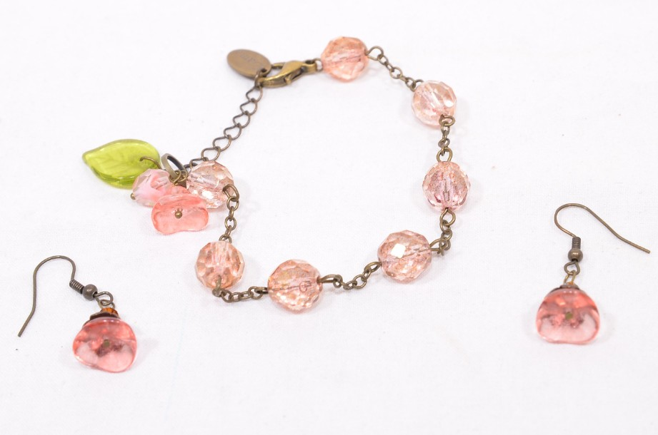 """Pink """"Gama"""" Bracelet and Matching Earring Set in a Heart Shaped Box"""