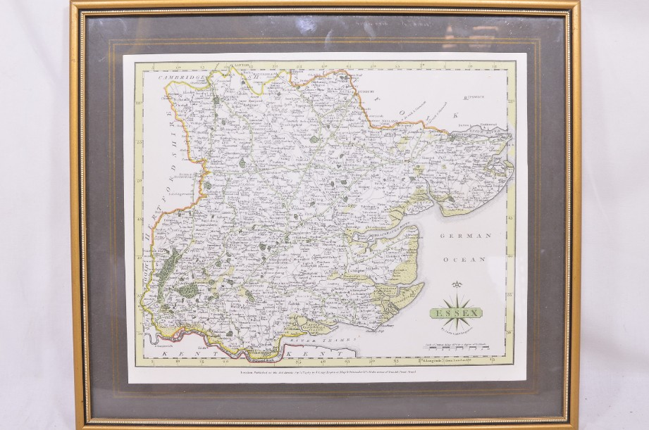 Framed Vintage Reproduction Print of the County of Essex - John Cary