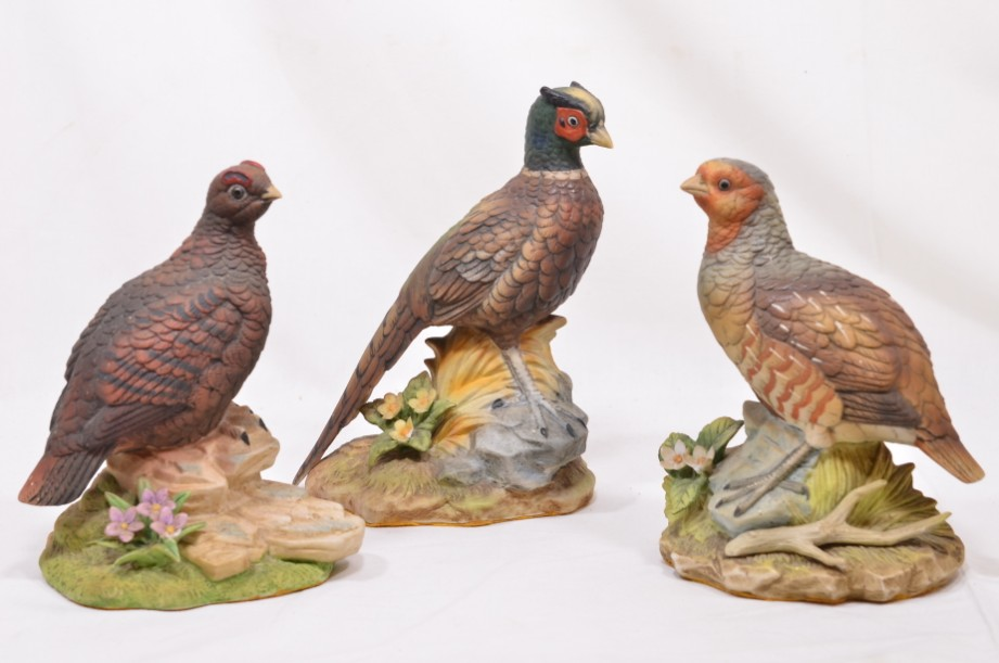 Set x 3 Kowa Porcelain Game Birds - Pheasant, Partridge & Red Grouse​