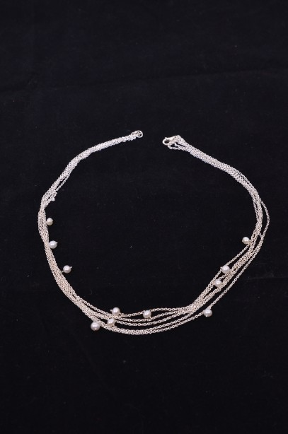 Pia Silver and Pearl Multi-String Necklace