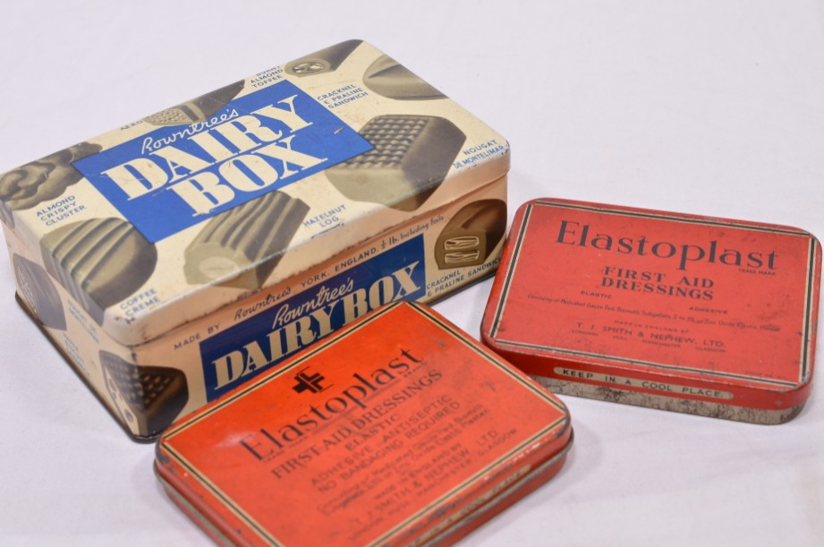 Three genuine vintage Rowntree's Dairy Box and Elastoplast tins