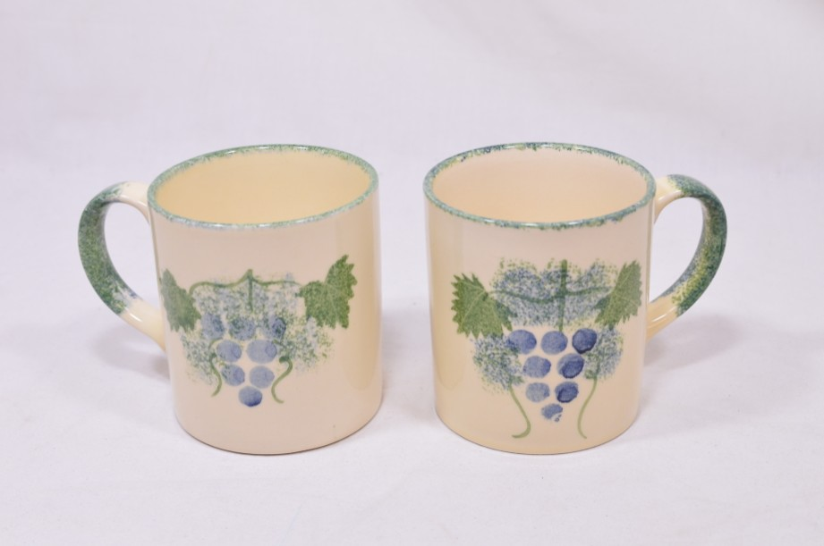 Pair of Matching Poole Pottery Hand-Painted Mugs with a Grapevine Design 1