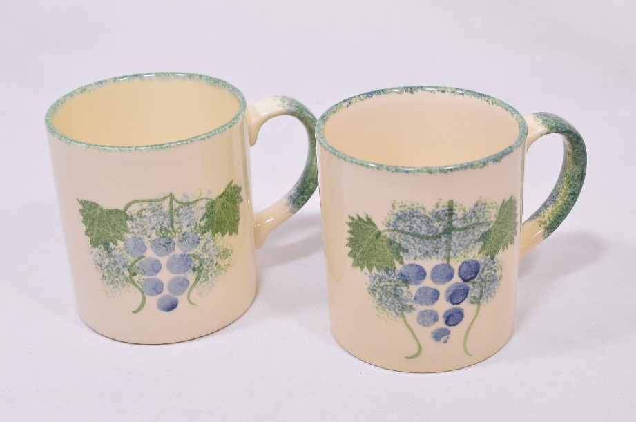 Pair of Matching Poole Pottery Hand-Painted Mugs with a Grapevine Design 2