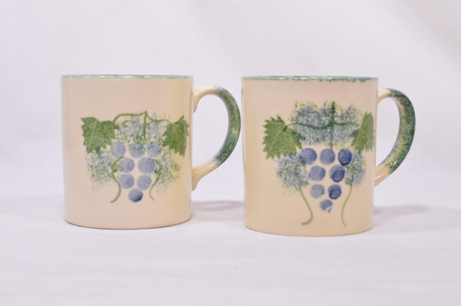 Pair of Matching Poole Pottery Hand-Painted Mugs with a Grapevine Design 3