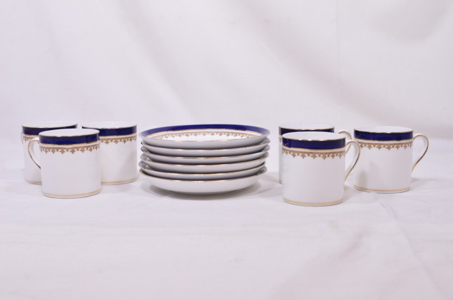 Crown Staffordshire Alfred B Pearce 6 coffee can cup and saucer set Blue & Gold 3