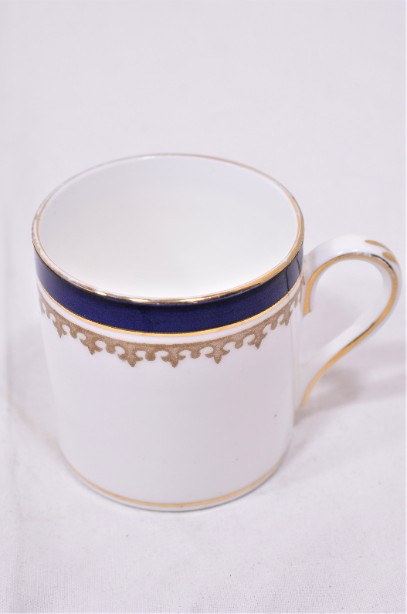 Crown Staffordshire Alfred B Pearce 6 coffee can cup and saucer set Blue & Gold 4
