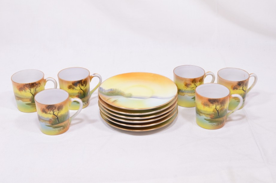 Noritake Japanese six-cup coffee can and saucer set