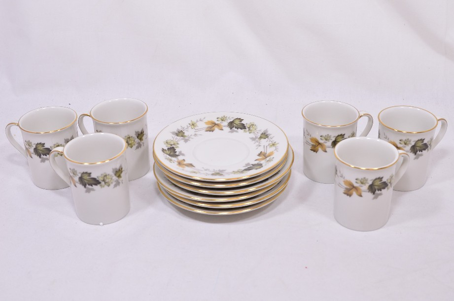 Royal Doulton Larchmont six-cup coffee can and saucer set 1