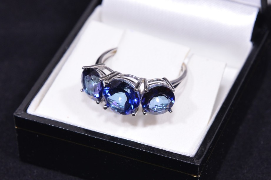 Azendi Blue Topaz Three-Stone 925 Sterling Silver Ring Limited Edition