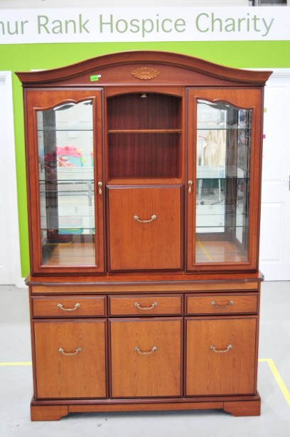 John E Coyle Cherry Wood Glass Fronted Drinks Display Cabinet