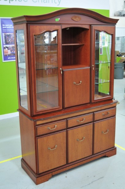 John E Coyle Cherry Wood Glass Fronted Drinks Display Cabinet 3